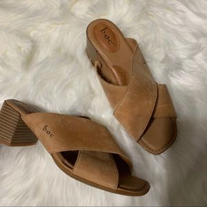 BOC tan leather strap mules size 8